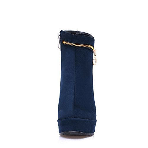 AdeeSu Girls Color Matching Thick Bottom Heel Platform Metal Ornament Soft Material Boots Darkblue m4iDHVidT