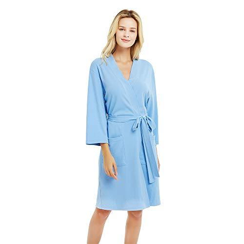 (U2SKIIN Kimono Bathrobe for Women with 3/4 Sleeves, Lightweight Cotton Short Robe Ladies Longewear for SPA Bathing Wedding ... Sky Blue)