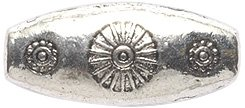 Shipwreck Beads Zinc Alloy Bead Oval with Sunburst Design, 9 by 21mm, Silver, 10 (Sunburst Spacers)