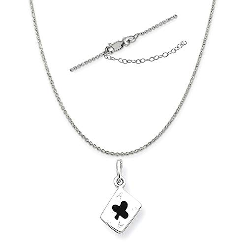 Sterling Silver Enameled Ace of Clubs Card Charm on a 1.25mm Cable Chain Necklace, 18