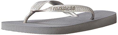 Metallic Top Havaianas Shoe Womens - Havaianas Women's Flip Flop Sandals, Top Metallic,Steel Grey,35/36 BR (6 M US)