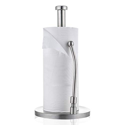 Kitchen Paper Towel Holder, Stainless Steel Standing One-Handed Tear Paper Towel Container with Adjustable Spring Loaded Arm and Vertical Weighted Base Design for Standard and Jumbo Paper Towel Rolls ()