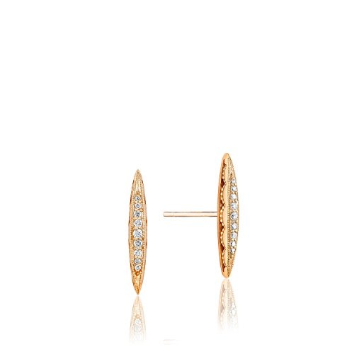Tacori SE229Y 18K Rose Gold The Ivy Lane Diamond Pavé Surfboard Stud Earrings (0.11 cttw, H to I Color, I2 to I3 (Tacori 18k Earrings)
