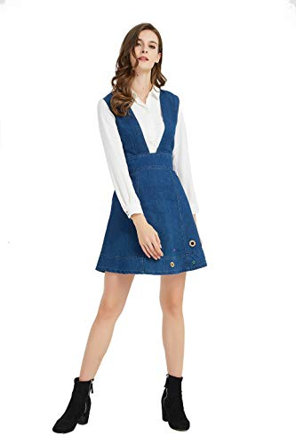 Tronjori Womens Junior Casual Denim A-line Overall Dress with Colorful Eyelets[Dress Only](M,Blue)