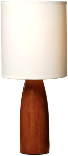 Wood Base Table Lamp - Normande HN1-1482 Flager 60-Watt Polyresin Wood-Look Table Lamp with Fabric Shade
