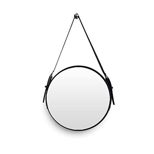 KMDB Mirror, Vanity Mirror, Round Wall Mirror, Decorative Leather Hanging Mirror (Color : C, Size : 70x70cm) - Elegant Reflections Round Gallery Trays