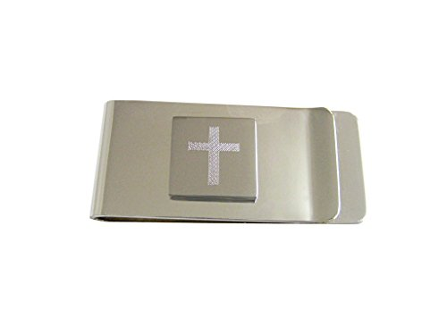 Religious Money Clips (Silver Toned Etched Thick Religious Cross Money Clip)