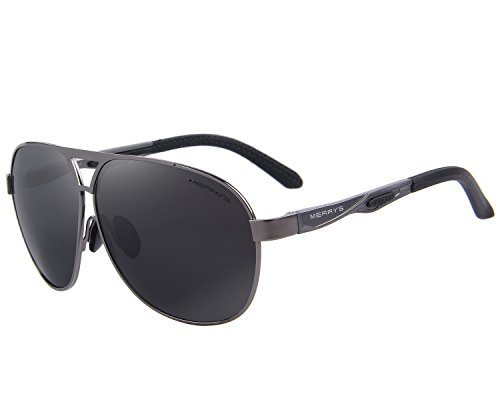 MERRY'S Men Classic Brand HD polarized Sunglasses Aluminum Driving Sun glasses S8611 (Gray, 62)