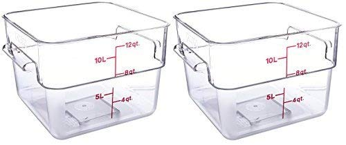 Cambro 12SFSCW135 CamSquare Food Storage Containers, Set of 2 (12-Quart, Polycarbonate, NSF)