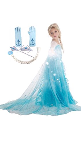 Frozen Inspired Dress (7-8 Years, 5-Piece Elsa) (Elsa Costumes For Girls)