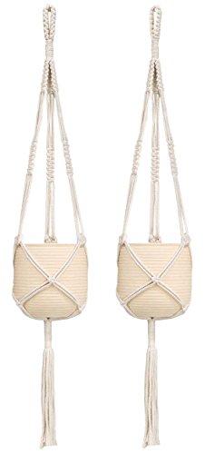 - Mkono 2 Pcs Macrame Plant Hanger Indoor Outdoor Hanging Planter Basket Cotton Rope 3 Legs 39 Inch