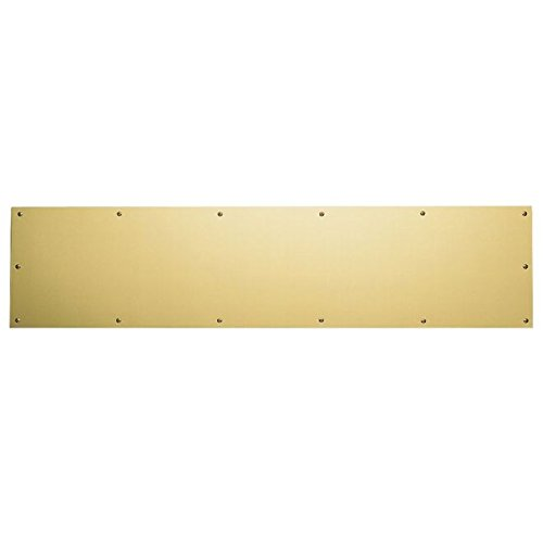 Baldwin 20000600834 Satin Brass and Brown 8 Inch x 34 Inch Solid Brass Kick Plate by Baldwin