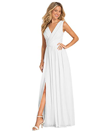 Yilis Women's V-Neck A Line Draped Chiffon Beach Wedding Dress Long Slit Formal Dresses White US2