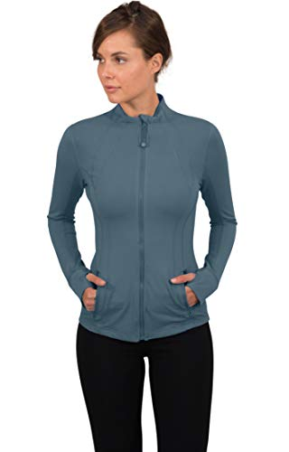 90 Degree By Reflex Women's Lightweight, Full Zip Running Track Jacket - Indian Ocean - Large