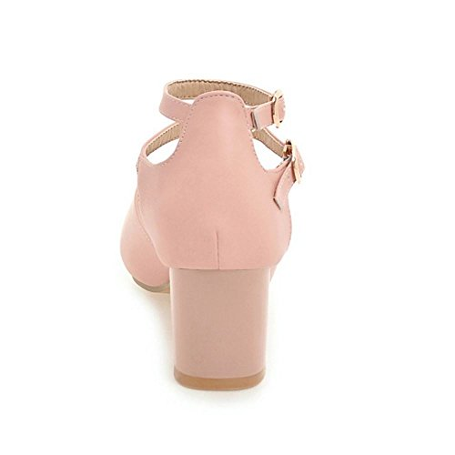 Toe TAOFFEN Sandals Wedding Shoes Peep Ladies Pink Bride Heel Block Dress 4CqrX4w