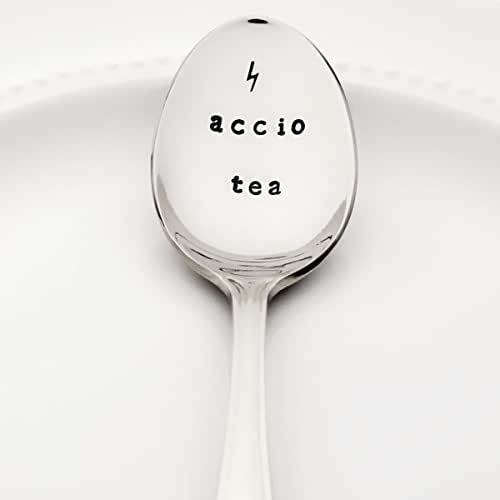 Accio Tea with Lightning Bolt | Stamped Spoon | Stamped Silverware | Harry Potter Birthday Gift Ideas | Christmas Stocking Stuffer for Her