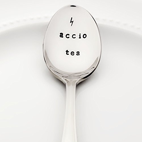 Accio Tea with Lightning Bolt - (Option to Personalize with a Name) | Stainless Steel Stamped Spoon | Stamped Silverware | Harry Potter Birthday Gift Ideas | Mother's Day Gift for Her]()