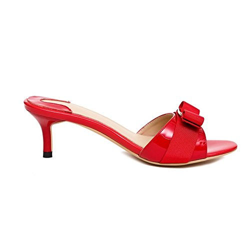 Balamasa Ladies Metal Bowknot Zapatillas De Cuero De Vaca Solid Red