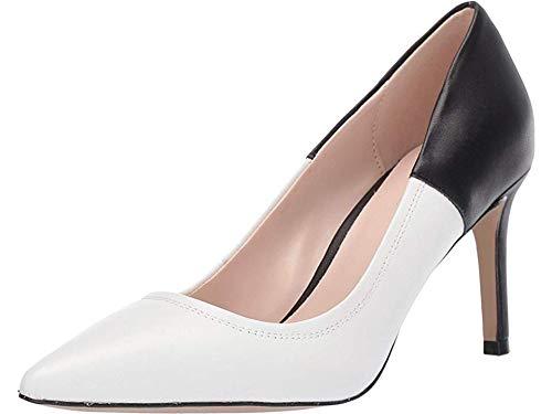 Tahari Womens Peyton Pump White/Black Leather 8.5 M