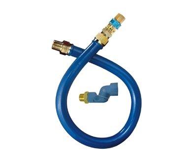 Dormont 16100BPQS48 1'' Blue Hose Moveable Gas Connector Hose 48'' Long with Blue Antimicrobial PVC, 1 SnapFast QD & 1 Swivel MAX