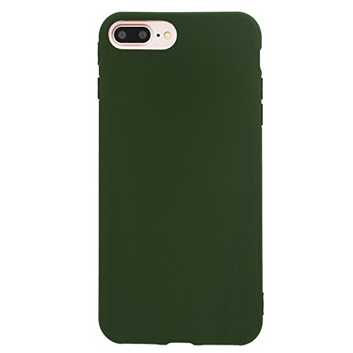 """iPhone 8 Plus / 7 Plus Case (5.5""""), Danbey, Charming Colorful Skin Feeling, 1.5mm Thick Flexible TPU Slim Cover, for Apple iPhone 8 Plus / 7 Plus 5.5-inch, D1077 (Matte-Dark Green)"""