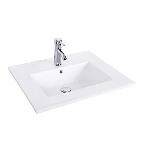 "eclife 24"" Drop in Rectangle 1.5 GPM Bathroom White Ceramic Sink Top Countertop with Chrome Faucet with Pop Up Drain (A08)"