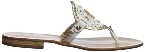 Jack Rogers Women's Georgica Flat Sandal, White/Gold, 9 Medium US by Jack Rogers (Image #7)