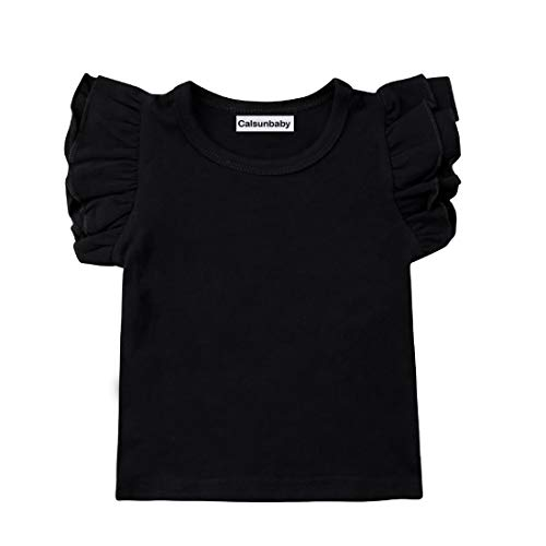 Infant Toddler Baby Girl Top Basic Plain Ruffle T-Shirt Blouse Casual Clothes (2-3 Years, Black) (Tank Girl Tshirt)