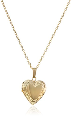 Clasp 14k Gold Hidden (Children's 14k Gold-Filled Embossed Edge Heart Locket Necklace)
