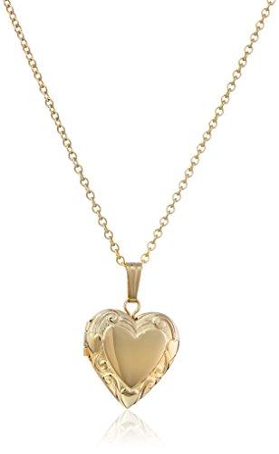 Clasp Gold Hidden 14k (Children's 14k Gold-Filled Embossed Edge Heart Locket Necklace)