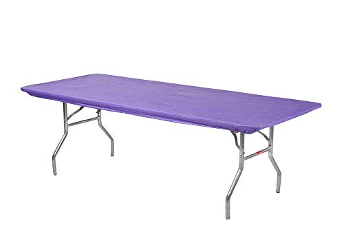 Kwik-Covers 6 Rectangle Plastic Table Covers 30 x 72, Bundle of 5 (Purple)
