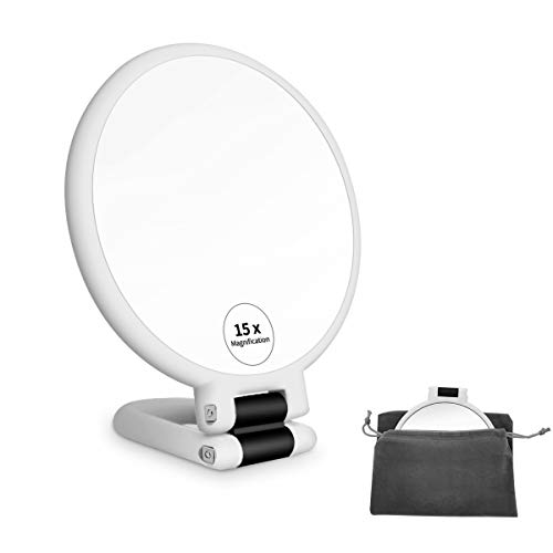 FUHUIM 1x 15x Magnifying Handheld Mirror, Double Sided Pedestal Magnification and True Image Makeup Mirror, Compact Size…