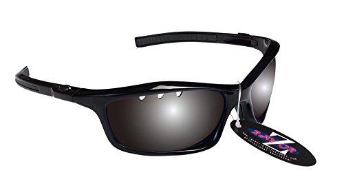 RayZor Professional de Cricket de Sport Noir UV400Lunettes de soleil, ultra léger avec un système anti-goutte fumé Effet miroir anti-reflet Objectif