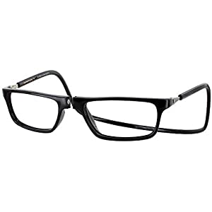 Clic Executive Single Vision Full Frame Designer Reading Glasses, Black, +1.50