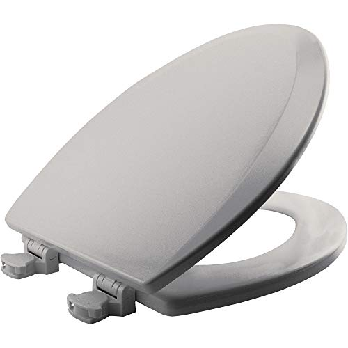 Bemis 1500EC 062 Wood Elongated Toilet Seat With Easy Clean & Change Hinge, Ice Grey