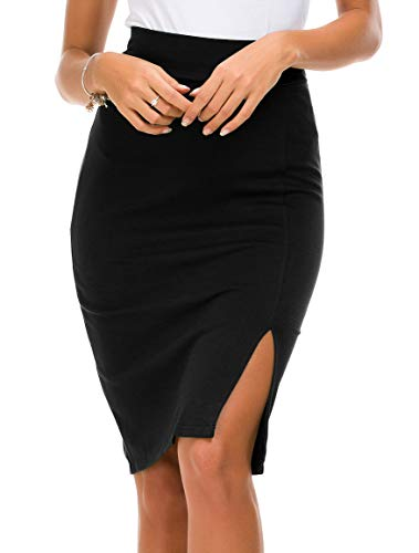 Urban CoCo Women's Elastic Waist Side Slit Hem Bodycon Pencil Skirt (S, Black)