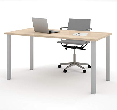 - Bestar Table with Square Metal Legs, 30 x 60, Northern Maple
