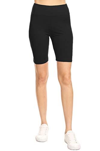 (Leggings Mania Women's Regular Size Solid High Waisted Wide Band Bermuda Shorts Black OneSize)