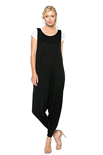 Rayon Knit Pant - Annabelle Women's Comfy Rayon Solid Color Sleeveless Harem Jumpsuits Black Medium J8004