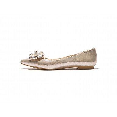 Cómodo y elegante soporte de zapatos de las mujeres pisos primavera otoño otros cuero sintético oficina y carrera vestido casual soporte de talón rosa plata oro Otros dorado