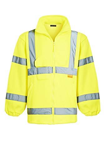 Chest Warmer (Shelikes Mens Hi Vis Fleece Full Zip Warm 2 Side EN471 Reflective Workwear Comfortable Casual Sweat Jacket [Yellow Medium])