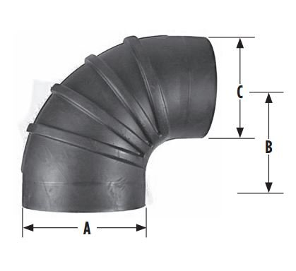 RRE-690-55 6 inch x 5.5 inch 90 Degree Reducer Air Intake Rubber Elbow ()