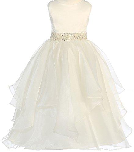 Little Girls Layer Bead Waistline Spring Summer Flowers Girls Dresses Ivory Size 4