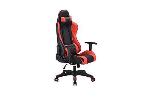 31%2BsOsW5jVL - Computer-Gaming-Chair-Office-High-Back-PU-Leather-Swivel-Computer-Chair-With-Lumbar-Support-and-Headrest-Red-Black