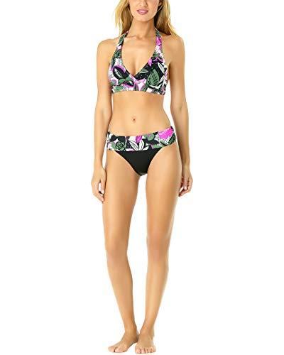 Anne Cole Women's Halter Bikini Swim Top, Bolo Babe Green Floral, Small