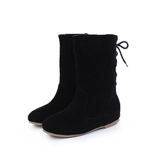AgooLar Women's Lace-up Low-Heels Imitated Suede Solid Low-Top Boots Black s06fj