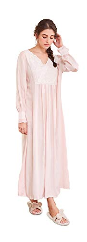 Women's Long Puff Sleeve Retro Victorian Cotton Pink Nightgown Calf-Length Embroidered V Neck Flounce Cuff ()