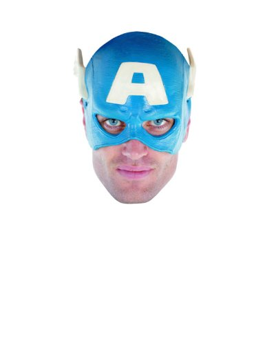 Disguise Mens Marvel Captain America Adult Vinyl 1/4 Mask, Blue, One Size