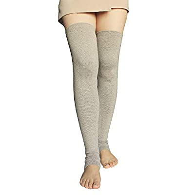 Share Maison Women's Cashmere Wool Winter Warm Knitted Over Knee High Boots Long Socks Leg Warmers (1-Beige) at Women's Clothing store