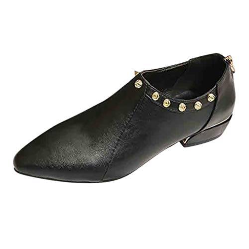 Female Rivet Large Size Single Shoes, NDGDA Pointed Thick with Low Heel Ankle Boots (Black, ()